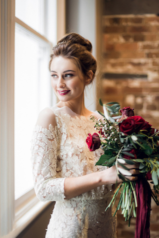 Lace sleeved wedding dress | Kelsea K Photography | see more on: http://burnettsboards.com/2016/02/industrial-romance/