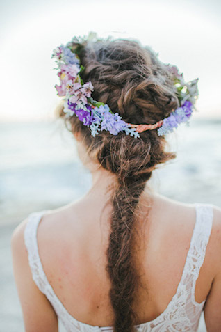 Pastel and lavender flower crown with micro blooms | Carly Jean Photography | see more on: http://burnettsboards.com/2016/02/seaside-bridal-boudoir/