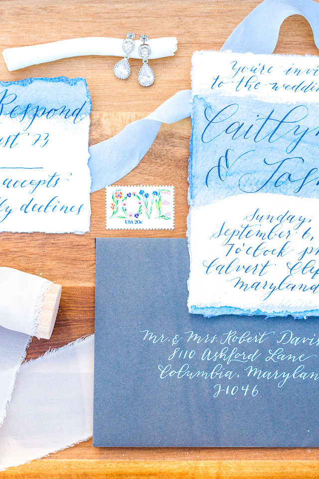 Blue watercolor wedding invitations with calligraphy | Lauren Werkheiser Photography | see more on: http://burnettsboards.com/2016/02/beach-wedding-unique-color-palette/