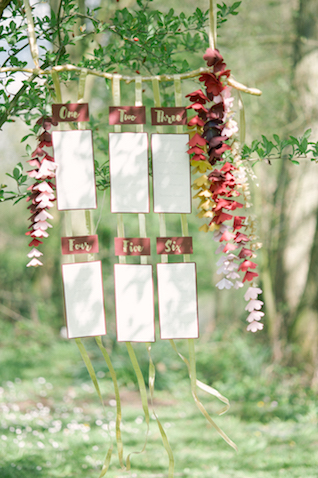 Hanging seating chart | Plenty To Declare Photography | see more on: http://burnettsboards.com/2016/02/whimsical-marsala-celebration/
