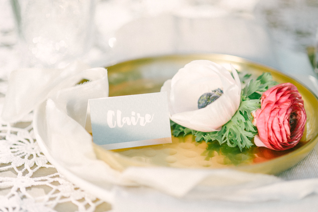 Hand lettered place card with anemone | Plenty To Declare Photography | see more on: http://burnettsboards.com/2016/02/whimsical-marsala-celebration/