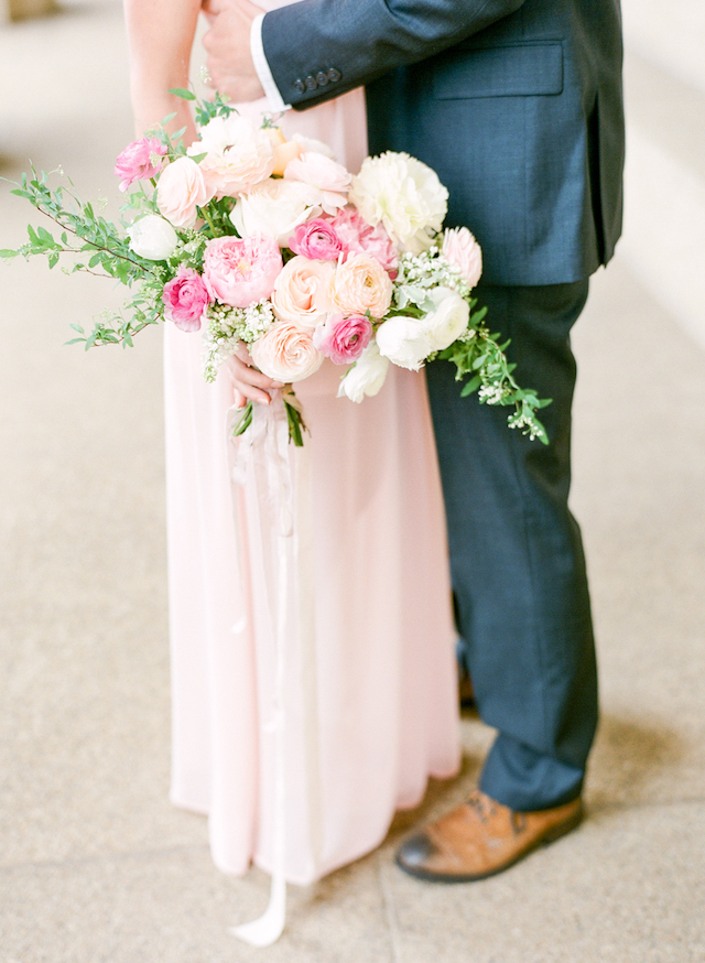 Pink peony and ranunculus bridal bouquet | Connie Whitlock Photography | see more on: http://burnettsboards.com/2016/02/blush-pink-anniversary-session/