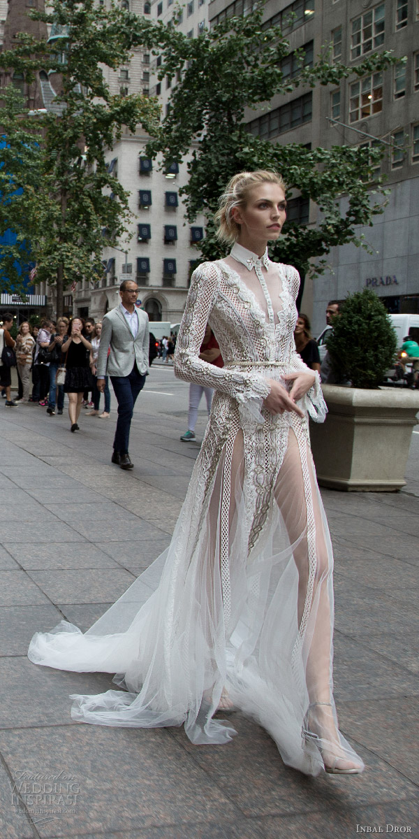 inbal dror 2016 v neck button collar illusion long sleeve lace fit flare wedding dress style 10