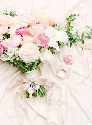 Bouquet with vintage pictures attached with ribbon | Connie Whitlock Photography | see more on: http://burnettsboards.com/2016/02/blush-pink-anniversary-session/