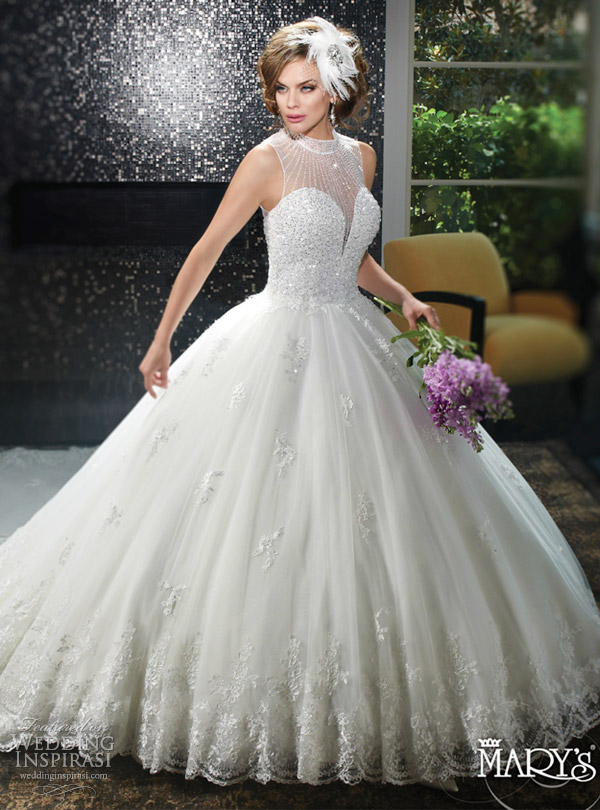 mary's bridal spring 2016 sweetheart illusion high neck sleeveless ball gown wedding dress (6404) heavily beaded bodice keyhole corset back royal train detachable romantic mv