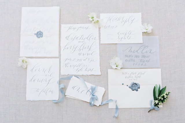 Powder blue calligraphy wedding invitations | Courtney Leigh Photography | see more on: http://burnettsboards.com/2016/02/romantic-outdoor-southern-mansion-wedding/