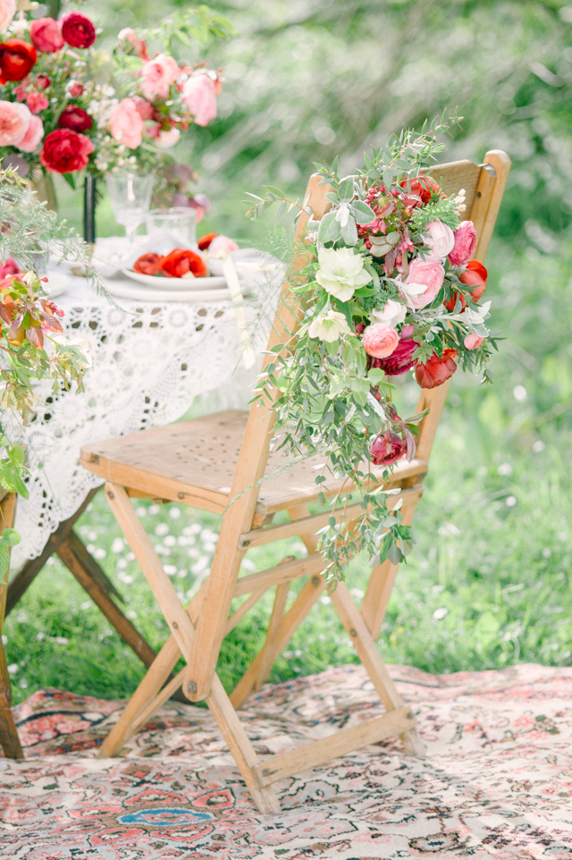 Flower adorned wooden wedding chair | Plenty To Declare Photography | see more on: http://burnettsboards.com/2016/02/whimsical-marsala-celebration/