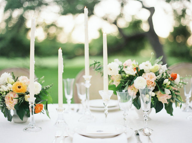 Taper candles | Courtney Leigh Photography | see more on: http://burnettsboards.com/2016/02/romantic-outdoor-southern-mansion-wedding/
