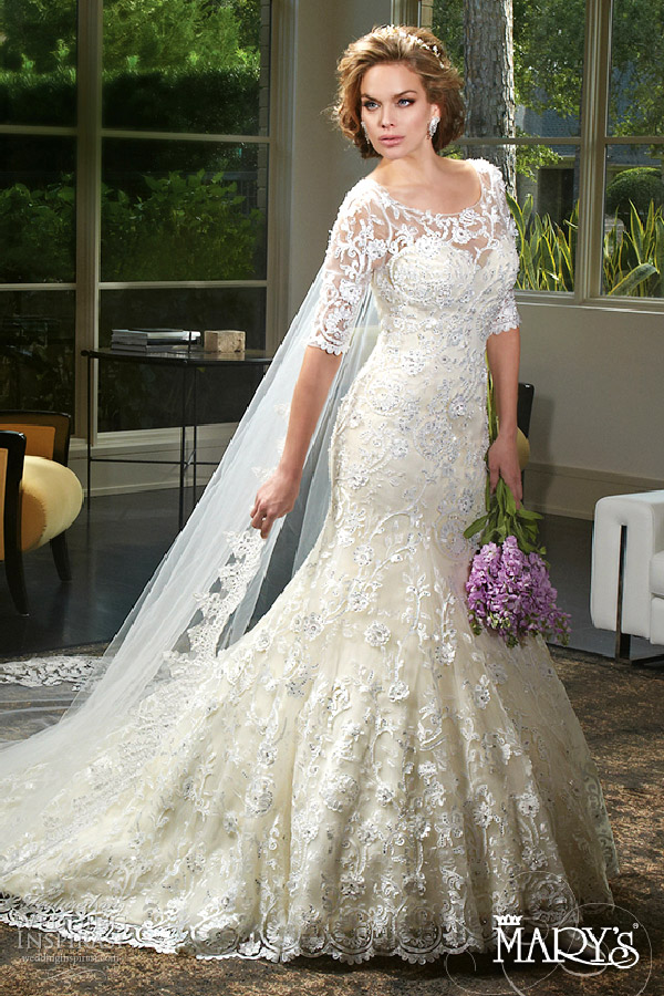 mary's bridal spring 2016 sweetheart illusion scoop 3 quarter sleeves fit flare lace wedding dress (6403) appliques chapel train elegant mv