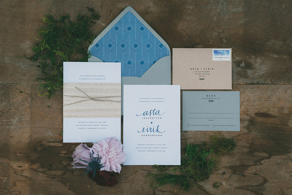 romantic simple wedding invitations - photo by LV Imagery http://ruffledblog.com/nordic-inspired-woodland-wedding