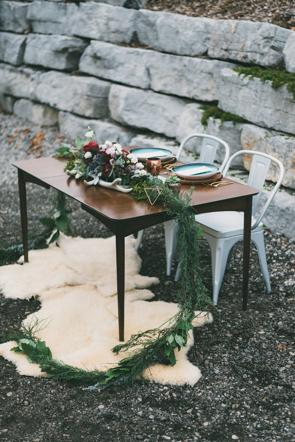 modern reception table - photo by LV Imagery http://ruffledblog.com/nordic-inspired-woodland-wedding