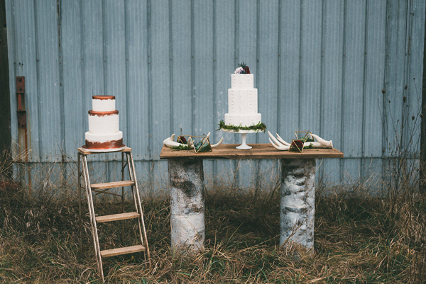 cake table - photo by LV Imagery http://ruffledblog.com/nordic-inspired-woodland-wedding