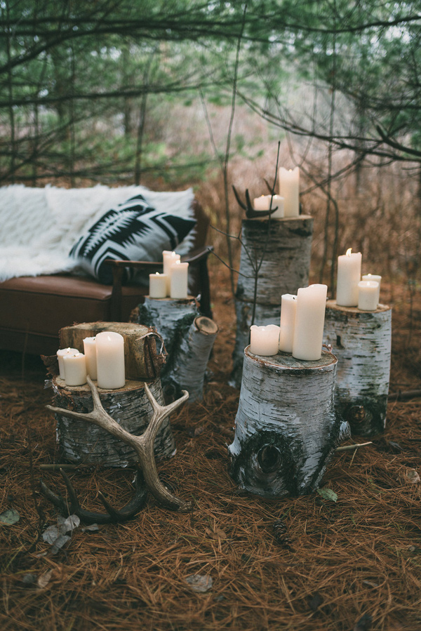 woodland reception decor - photo by LV Imagery http://ruffledblog.com/nordic-inspired-woodland-wedding