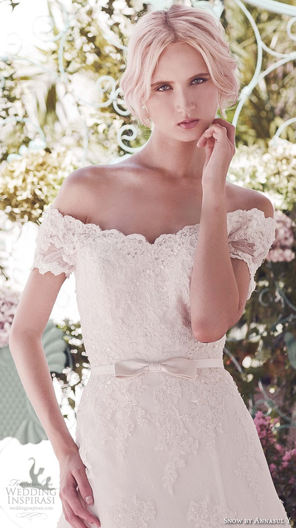 snow by annasul y 2016 bridal gowns strapless off the shoulder scalloped v neck beaded bodice romantic princess beautiful a line wedding dress (suzetta) zv