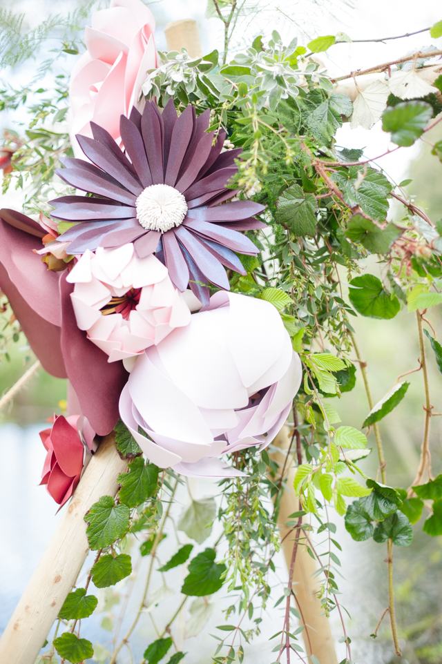Paper flowers | Plenty To Declare Photography | see more on: http://burnettsboards.com/2016/02/whimsical-marsala-celebration/