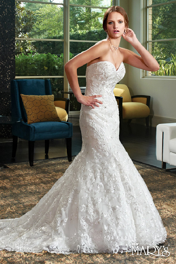mary's bridal spring 2016 strapless sweetheart fit flare corset lace wedding dress (6402) lace up back chapel train elegant mv