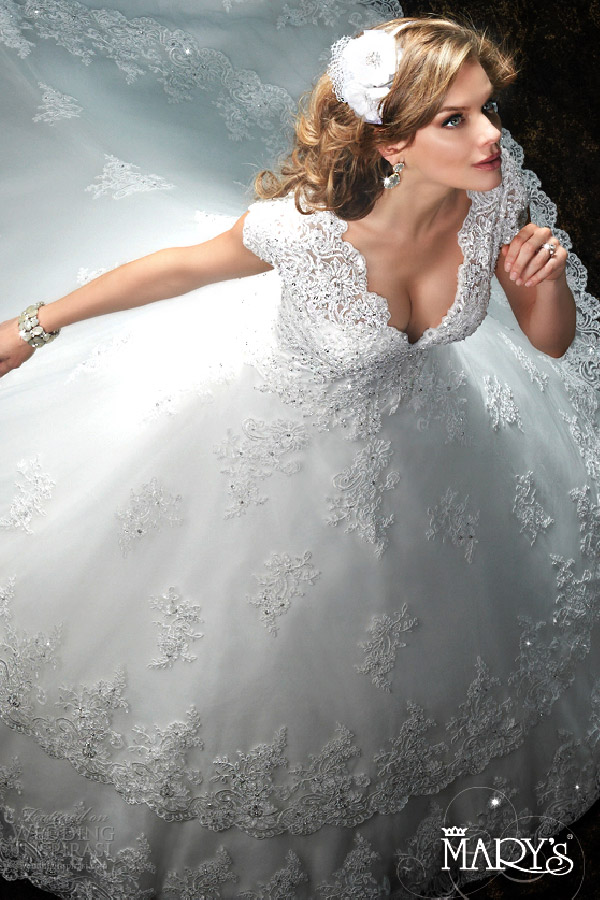 mary's bridal spring 2016 v neck cap sleeve a line ball gown wedding dress (6401) tiered skirt cathedral tain mv