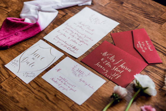 Gold calligraphy on red | Kelsea K Photography | see more on: http://burnettsboards.com/2016/02/industrial-romance/