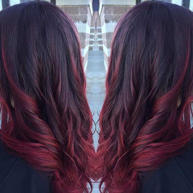Wine Red Hair with Hot Red Highlights
