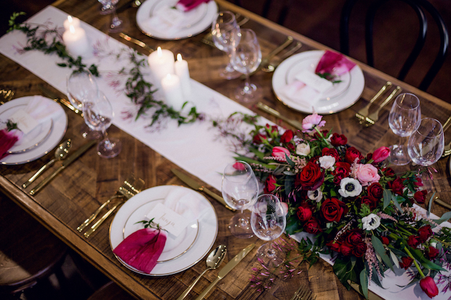 Romantic, red wedding reception tablescape | Kelsea K Photography | see more on: http://burnettsboards.com/2016/02/industrial-romance/