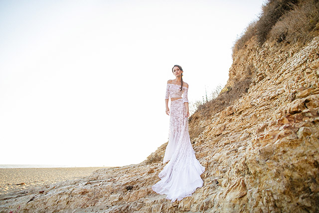 Crop top two piece wedding dress | Carly Jean Photography | see more on: http://burnettsboards.com/2016/02/seaside-bridal-boudoir/