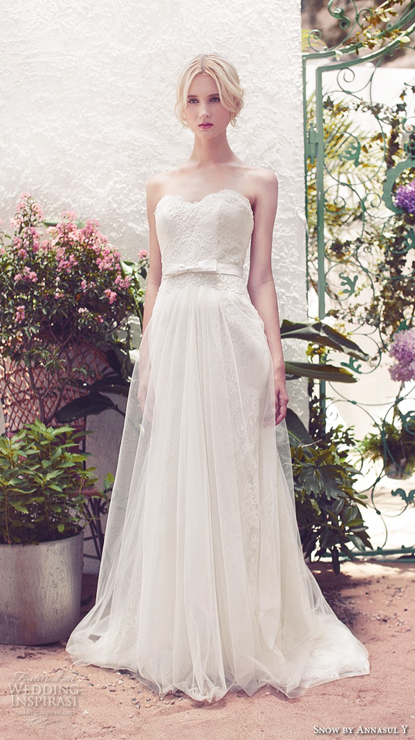 snow by annasul y 2016 bridal gowns strapless sweetheart neckline embellished bodice tulle skirt romantic a line wedding dress sweep train (sa2910b) mv