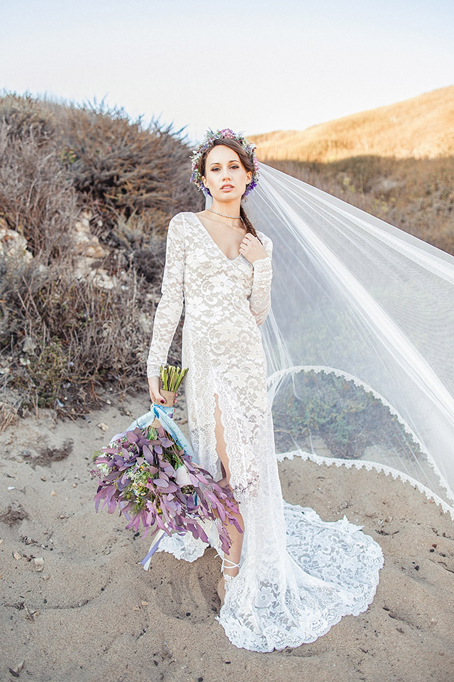 Flower crown and wedding veil paired with a lace long sleeved wedding dress | Carly Jean Photography | see more on: http://burnettsboards.com/2016/02/seaside-bridal-boudoir/