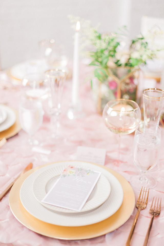 Pink and gold place setting and tablescape | Sara Lynn Photographic | see more on: http://burnettsboards.com/2016/02/pink-gold-geometric-wedding/