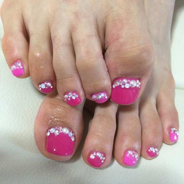 Pink Pearl Pedicure Design