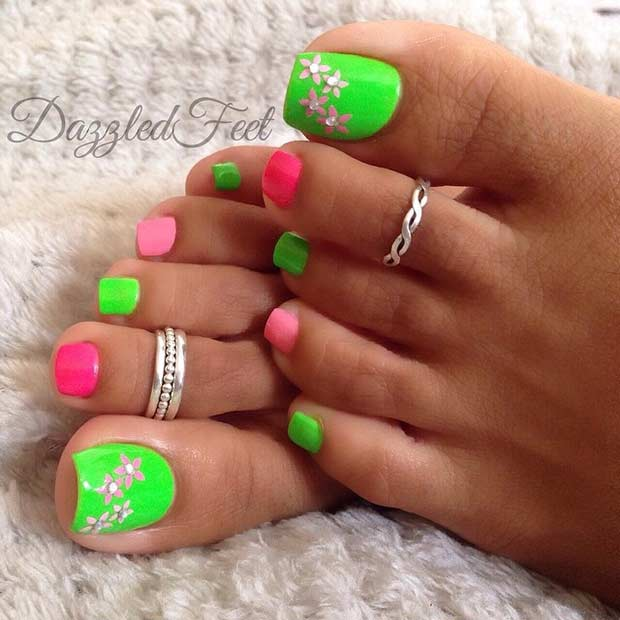 Green and Pink Pedicure Design for Spring and Summer