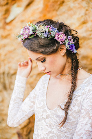 Pastel flower crown | Carly Jean Photography | see more on: http://burnettsboards.com/2016/02/seaside-bridal-boudoir/