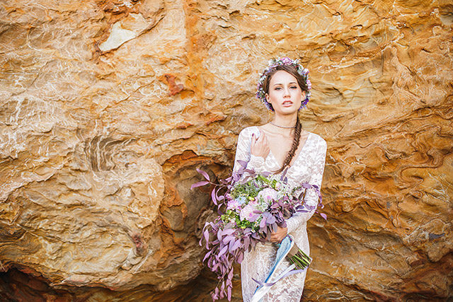 Pastel bridal bouquet and flower crown | Carly Jean Photography | see more on: http://burnettsboards.com/2016/02/seaside-bridal-boudoir/