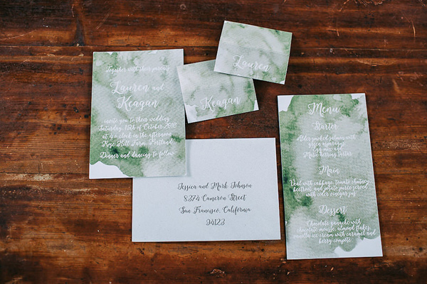 green wedding invitations - photo by Petra Veikkola Photography http://ruffledblog.com/finnish-mansion-wedding-inspiration