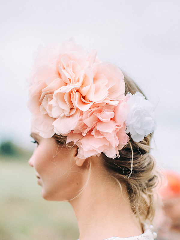 pink floral crown - photo by Petra Veikkola Photography http://ruffledblog.com/finnish-mansion-wedding-inspiration