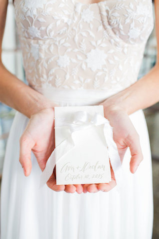 Calligraphy and ribbon place cards | Mandy Forlenza Sticos and Maria Cascio Photography | see more on: http://burnettsboards.com/2016/02/airy-paper-factory-hotel-bridals/