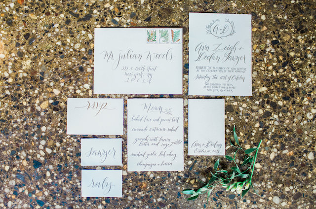 Gray calligraphy wedding invitations | Mandy Forlenza Sticos and Maria Cascio Photography | see more on: http://burnettsboards.com/2016/02/airy-paper-factory-hotel-bridals/
