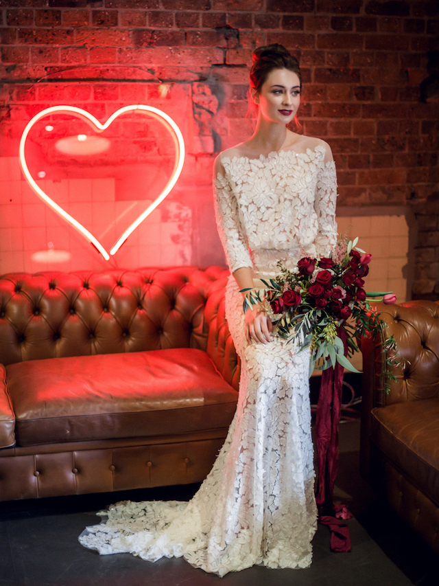 Feminine, lace wedding dress | Kelsea K Photography | see more on: http://burnettsboards.com/2016/02/industrial-romance/
