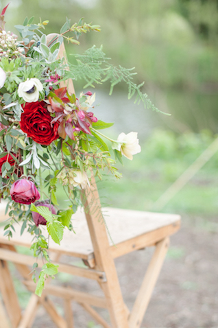 Flower chair garland | Plenty To Declare Photography | see more on: http://burnettsboards.com/2016/02/whimsical-marsala-celebration/