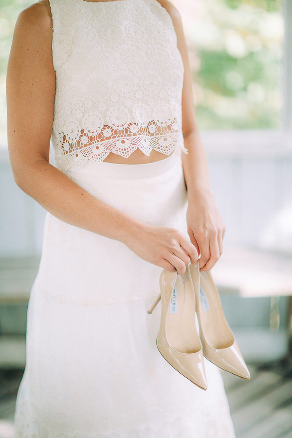 two piece wedding gown - photo by Petra Veikkola Photography http://ruffledblog.com/finnish-mansion-wedding-inspiration