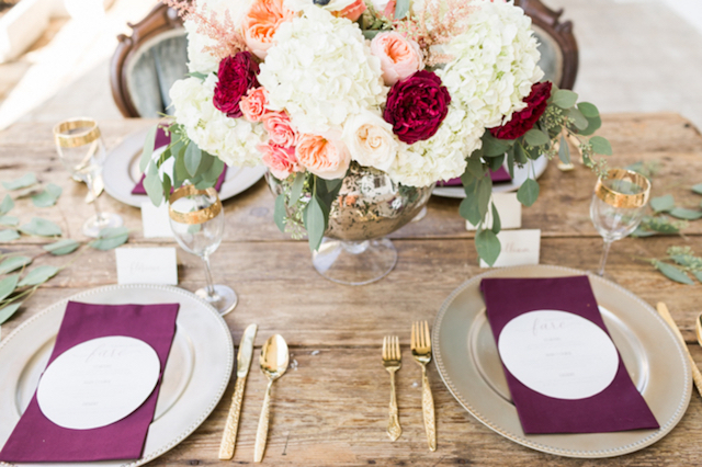 Red and pink vintage tablescape | Jessica Green Photography | see more on: http://burnettsboards.com/2016/02/sweetly-sentimental-red-wedding/