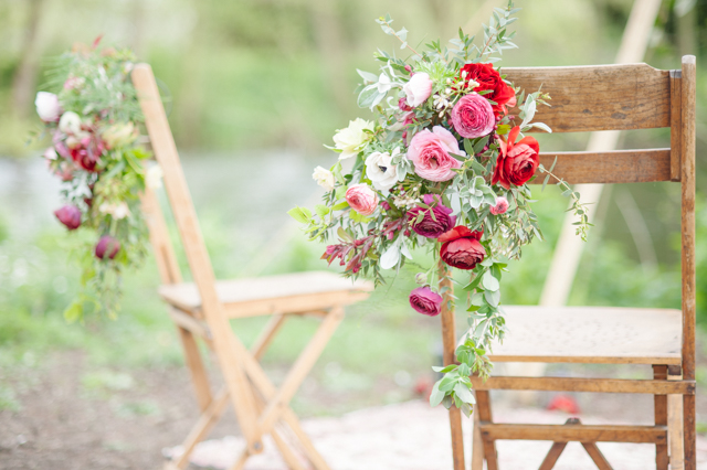 Flower chair decorations | Plenty To Declare Photography | see more on: http://burnettsboards.com/2016/02/whimsical-marsala-celebration/