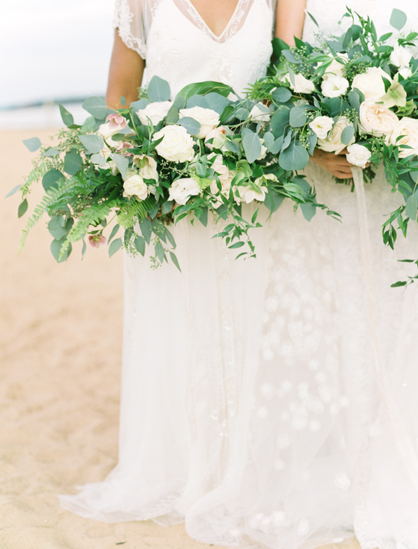 bouquets with eucalyptus - photo by Ben Q Photography http://ruffledblog.com/easy-romantic-wedding-inspiration