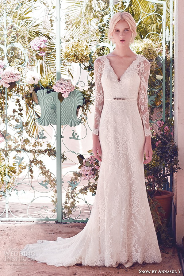 snow by annasul y 2016 bridal gowns long sleeves v neck fully embellished lace elegant fit to flare wedding dress sweep train (sa3039b) mv