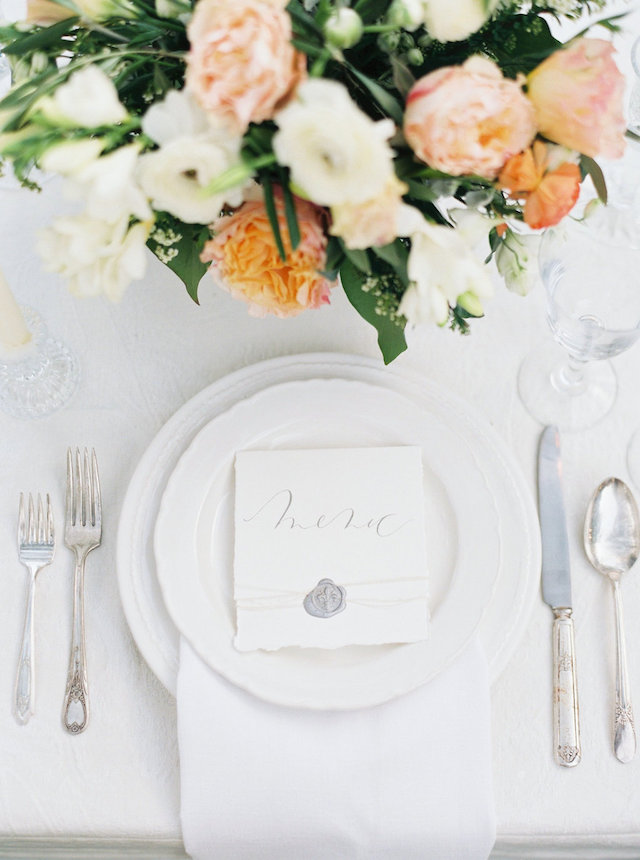Romantic outdoor place setting for a wedding reception | Courtney Leigh Photography | see more on: http://burnettsboards.com/2016/02/romantic-outdoor-southern-mansion-wedding/