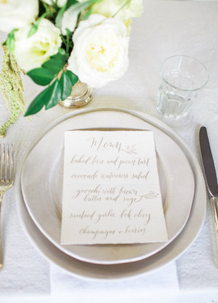 Grey calligraphy wedding menu | Mandy Forlenza Sticos and Maria Cascio Photography | see more on: http://burnettsboards.com/2016/02/airy-paper-factory-hotel-bridals/