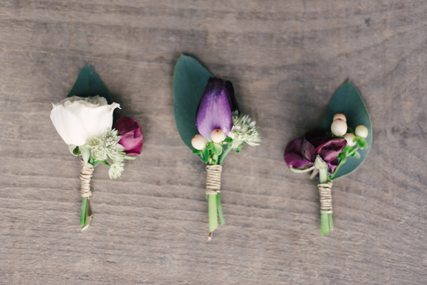 purple boutonnieres - photo by Briana Arlene Photography http://ruffledblog.com/airy-romantic-wedding-inspiration