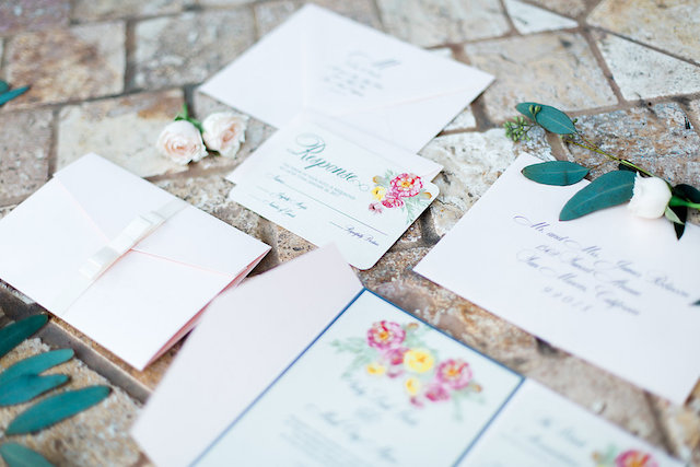 Pink and yellow floral wedding invitations | Stephanie Ponce Photography