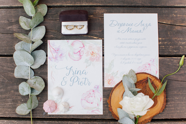 Pink floral designed wedding invitations | Elisaveta Sudarikova Photography