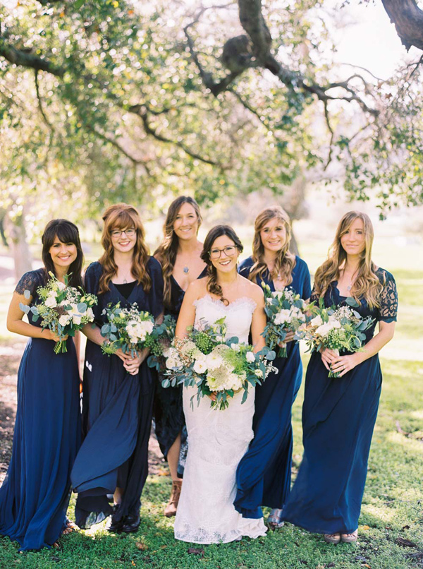 navy bridesmaid dresses - photo by Danielle Poff http://ruffledblog.com/arroyo-grande-barn-wedding