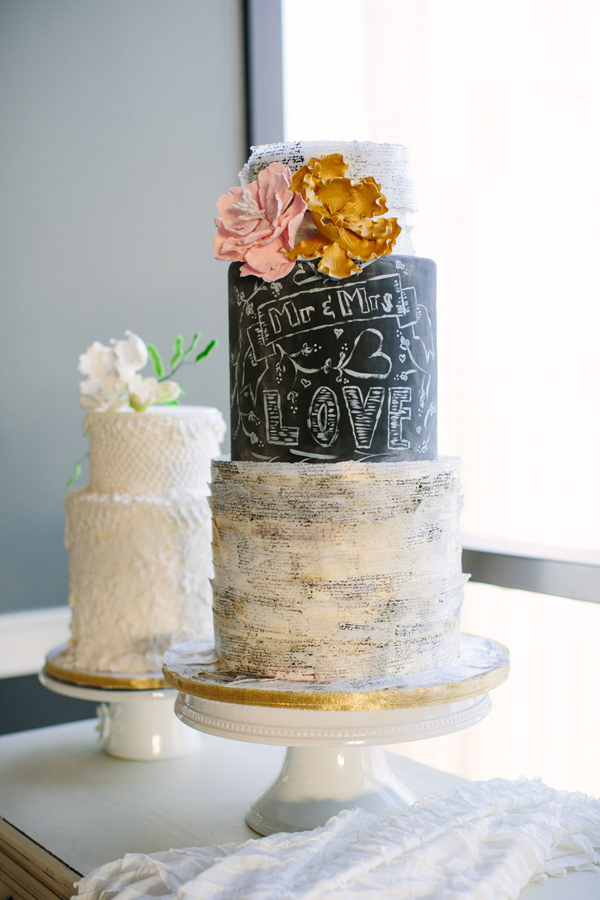 blackboard inspired cake - photo by Mary Costa Photography http://ruffledblog.com/schoolhouse-charm-wedding-inspiration